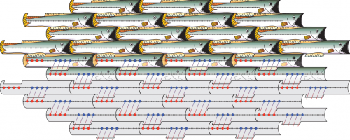 Image showing how symmetry allows for tessellating repetition
